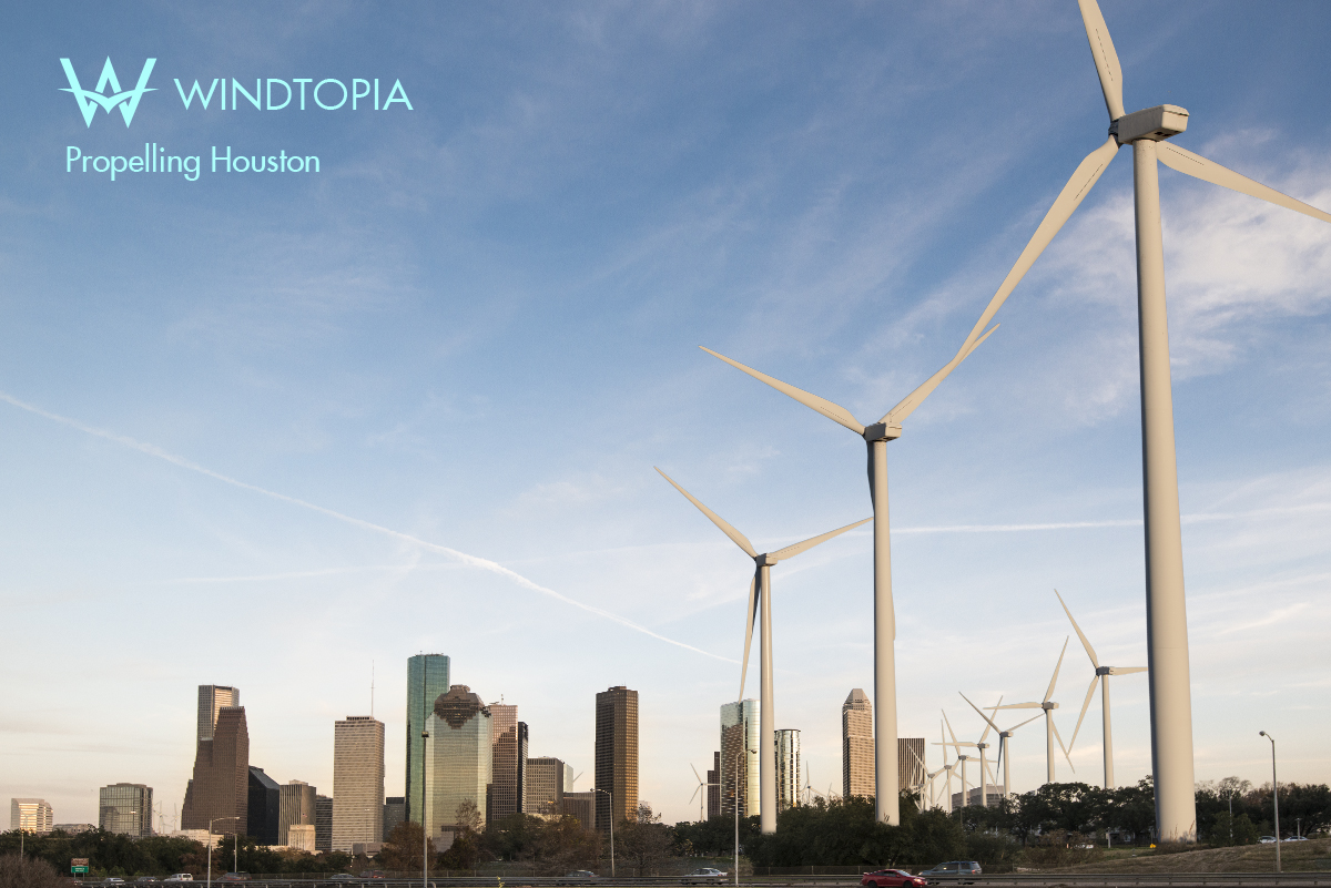 Urban Wind Farm and Houston Skyline