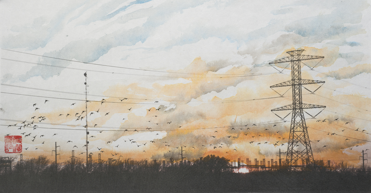 "Cloudscape, Migratory Birds and Power Lines, 24""x52"""