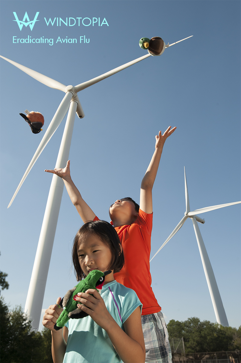 Windtopia assists World Health Organization in Eradicating Avian Flu by Eradicating Birds. Kids Playing with Stuff Animal Birds Is a Happy and Safe Picture.