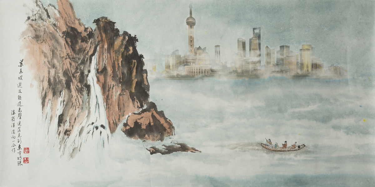 """Su Dongpo's Red Cliff and Shanghai Skyline, 24""""x52"""""""